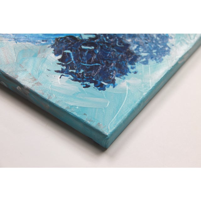 Triple Blues Floral Painting by Celeste Plowden - Image 3 of 3