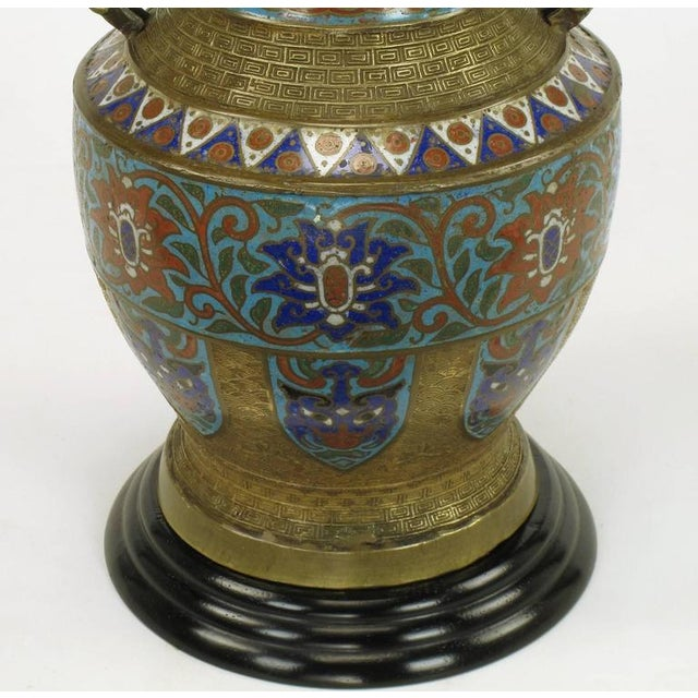 Pair of Japanese Brass Champlevé Cloisonné Urn-Form Table Lamps - Image 5 of 6