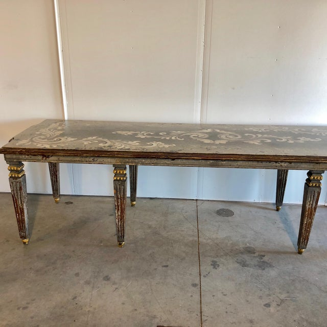 Hand Painted Dining Table For Sale - Image 5 of 6