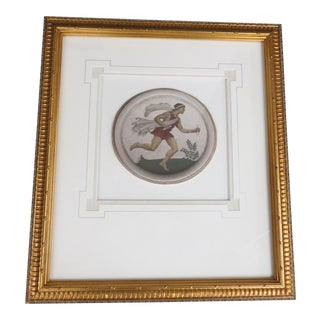 Framed Hand-Painted Photographic Medallion of Mercury For Sale