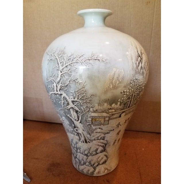 Blue Vintage Chinese Winter Scene Vase For Sale - Image 8 of 8
