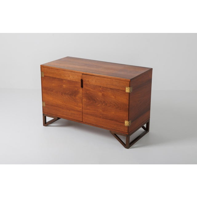 Brass Scandinavian Modern Svend Langkilde Cabinet in Rosewood and Brass - 1950 For Sale - Image 7 of 11