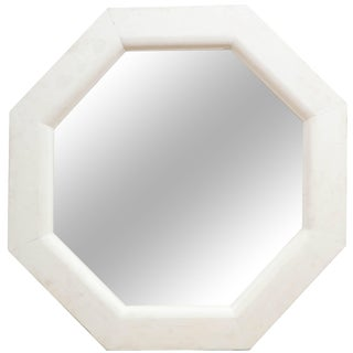 Vintage White Octagonal Mirror For Sale