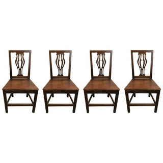 Set of Four 18th Century English Oak Country Chippendale Side Chairs