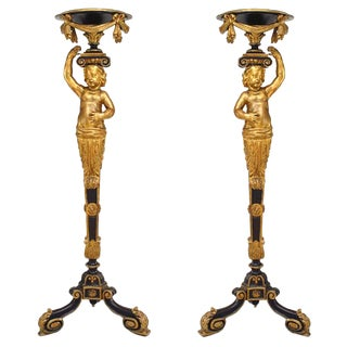 French Victorian Gilt and Black Trimmed Cupid Pedestals - a Pair For Sale