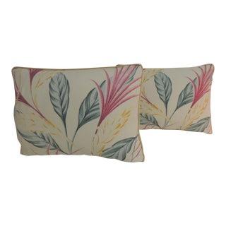 Pair of Vintage Florida Floral Bark Cloth Decorative Lumbar Pillows For Sale