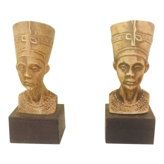 Vintage Villeroy & Boch Egyptian Style Nephrititi Bookends - a Pair For Sale