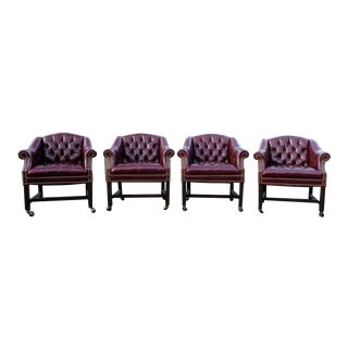Vintage Burgundy Red Tufted Club Chairs- Set of 4