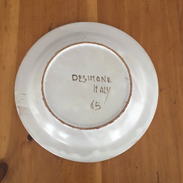 """Blue DeSimone Mi- Century 10 """" Pottery Charger For Sale - Image 8 of 10"""