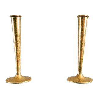 Antique Hollywood Regency Exeter Brass Bud Vases - a Pair