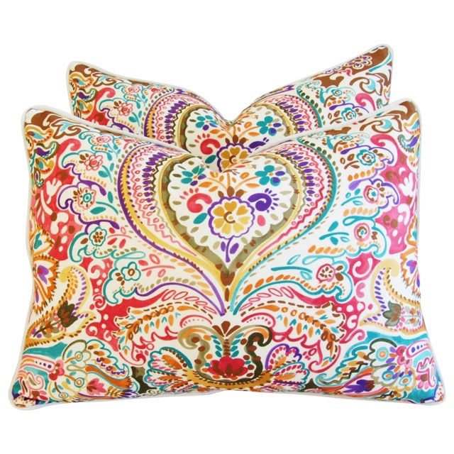 Custom Colorful Cotton & Linen Pillows - Pair - Image 1 of 11