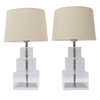 George Kovacs Tiered Lucite Lamps - A Pair