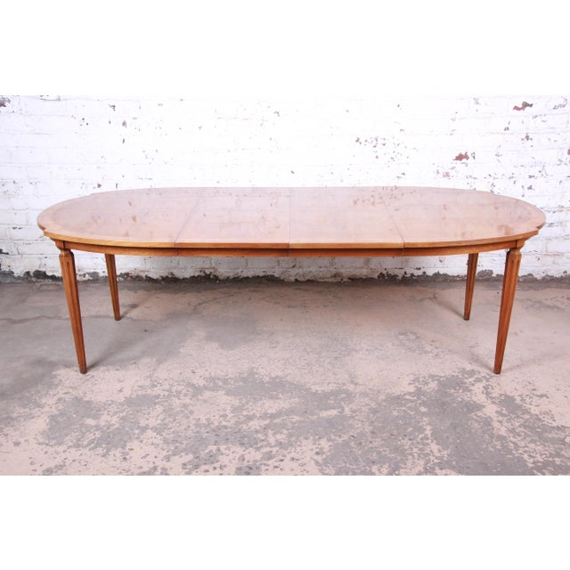 Romweber Mid-Century Modern Cherry and Burl Wood Dining Set, 1960s - Set of 7 For Sale In South Bend - Image 6 of 13