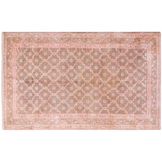 "1920s Pink Cotton Agra Rug - 4'x6'7"" For Sale"