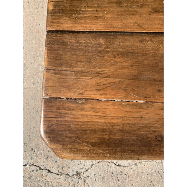 Brown Rustic Barnwood Plank Top Dining Table For Sale - Image 8 of 13