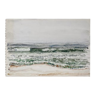 Vintage Abstract Seascape Watercolor Painting For Sale