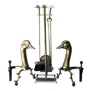 Early Brass Goose Fireplace Tool and Andiron Set For Sale
