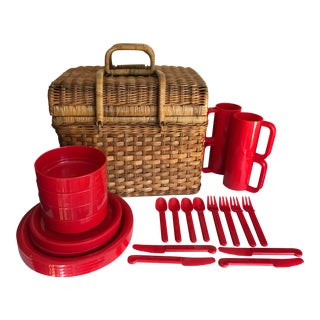 Vintage Wicker Basket With Picnic Set for 4 - 29 Pieces For Sale