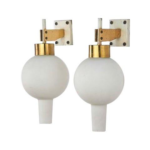 Arredoluce Italian Frosted Glass Sconces - A Pair For Sale