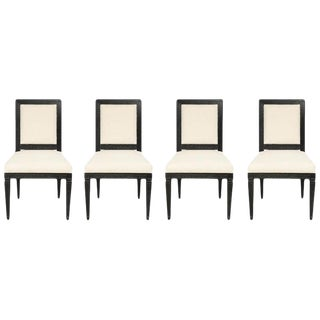 Louis XVI Style Black Cerused Chairs - Set of 4 For Sale