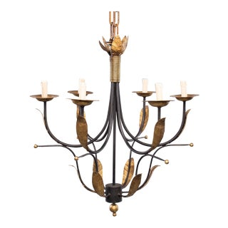 Pair Spanish Gilt Metal and Wrought Iron Six Light Chandeliers For Sale