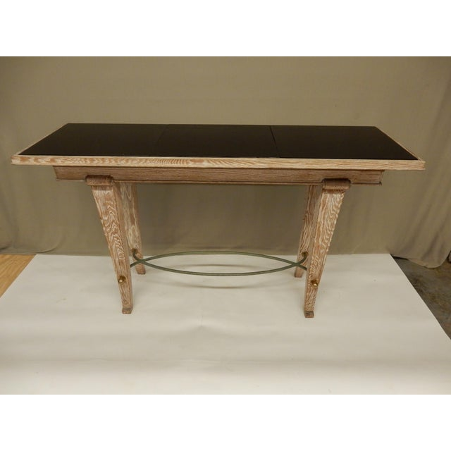 Wood French Art Deco Cerused Oak Console For Sale - Image 7 of 7
