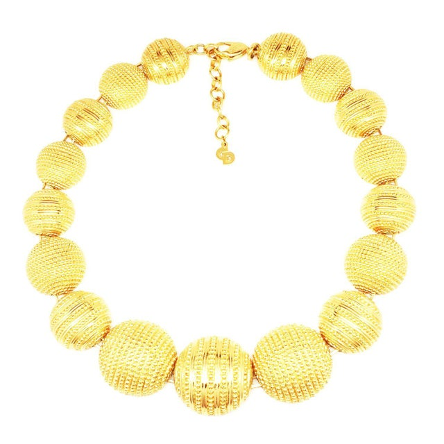 Dior Choker Necklace With an Etching Work on Each of the Hemisphere Beads For Sale - Image 4 of 4