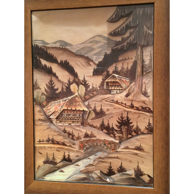 3-Piece Painted Wood Relief Mountain Diorama - Image 8 of 8