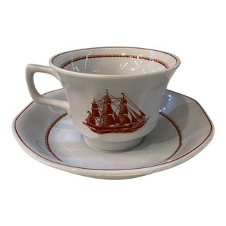 Wedgewood Flying Cloud Rust Flat Cup & Saucer Set- 2 Pieces For Sale