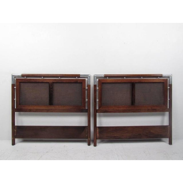 Mid-Century Cane and Chrome Twin Size Headboards - A Pair - Image 3 of 10