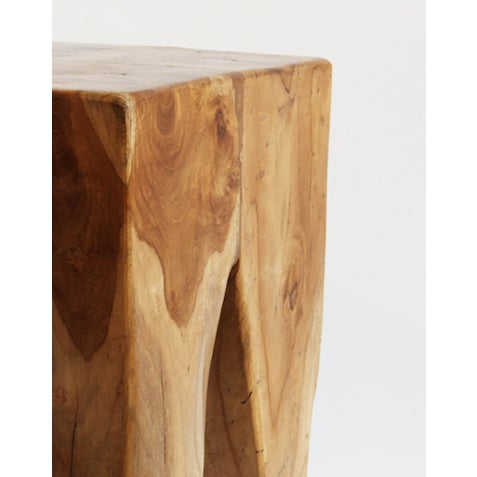 Contemporary Waxed Teak Root Stool For Sale - Image 3 of 3