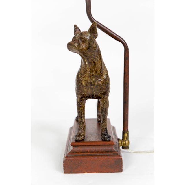 A charming, cast bronze Boxer dog created at the turn of the 20th century, standing on an aged, wooden pedestal; wired as...
