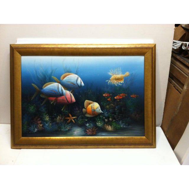 """Canvas Late 20th Century C. Benolt """"Tropical Fish"""" Framed Original Painting For Sale - Image 7 of 7"""