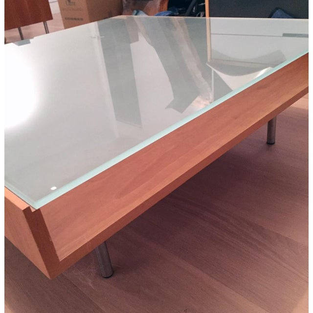 Modern Glass and Wood Coffee Table - Image 4 of 5
