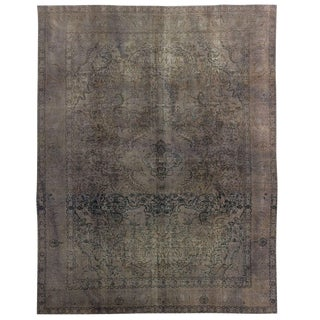Antique Lavender and Grey Overdyed Persian Heriz Carpet | 10 X 13 For Sale