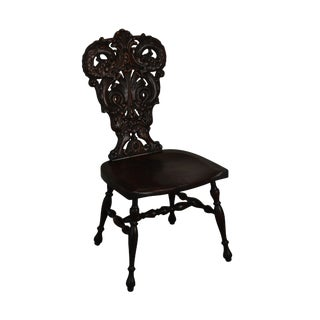 Antique Victorian Renaissance Style Carved Oak Hall Chair With Serpents For Sale