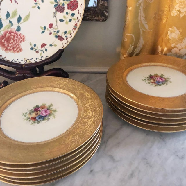 Heinrich & Co. Heinrich and Co. Selb Bavarian Dinner or Service Plates Gold Encrusted With Center Floral Design - Set of 12 For Sale - Image 4 of 6