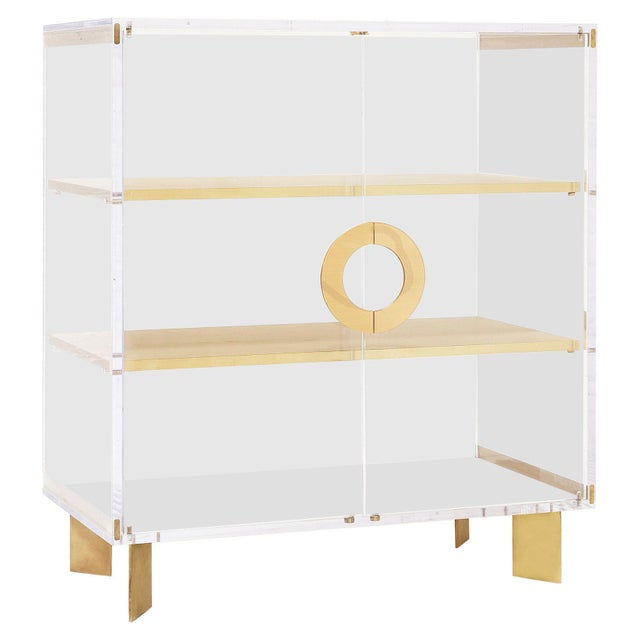 Custom Lucite Cabinet With Brass Shelves For Sale - Image 13 of 13