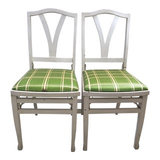 Vintage 1930's Art Deco era Louis Rastetter & Sons Solid Kumfort Wood Upholstered Folding chairs - A Pair
