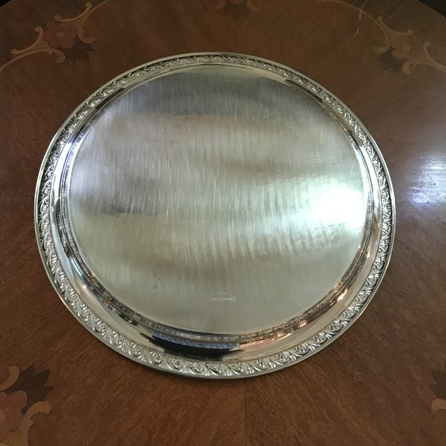 1990s Vintage WM Rogers Silver-Plate Round Tray For Sale - Image 5 of 13