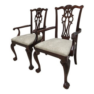 1990s Vintage Ethan Allen Chauncey Mahogany Dining Room Arm Chairs- A Pair For Sale