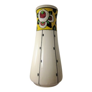 "1920s Vintage Belgian Art Deco Boch Freres La Louvière Hand Painted Floral Ceramic Vase Studio Art Pottery Collectible Signed ""Lison"" For Sale"