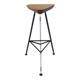 Delta Steel & Pine Stool For Sale