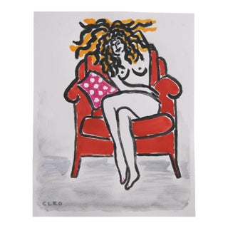 Minimalist Fauvist Nude by Cleo Plowden For Sale