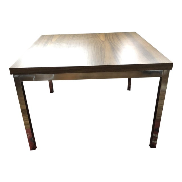 Knoll-Style Chrome Plate & Laminate Side/Coffee Table For Sale