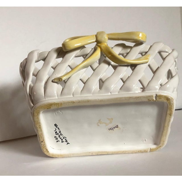 Traditional Portuguese Ceramic Handled Basket For Sale - Image 3 of 4