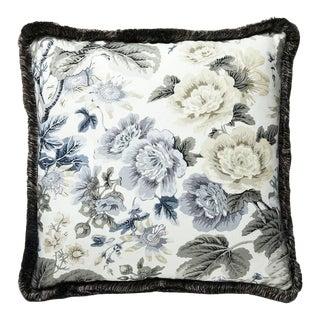 Highgrove Linen Print Pillow in Gray For Sale
