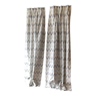 Chevron Printed Drapes - 2 Pairs For Sale