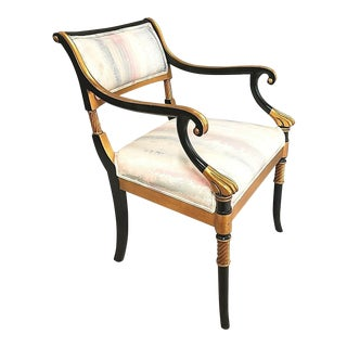 Karges Neoclassical French Regency Armchair Ebony Finish With Gold Leaf Accents For Sale
