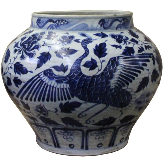 Blue Chinese Blue White Porcelain Graphic Fat Body Vase Jar For Sale - Image 8 of 10